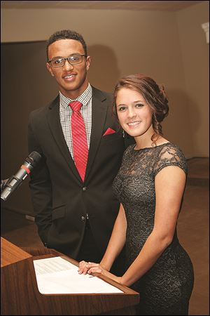 DeShone Kizer, left, and Lexi Galernik, both seniors at Central Catholic High School, were guest speakers at the school's scholarship fund-raiser. Alex Nester, not pictured, a sophomore, was another speaker.