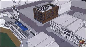 An architect's rendering shows rooftop bleachers overlooking Fifth Third Field as part of the Mudville development.