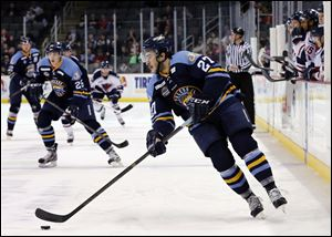 Walleye's Trevor Parkes (27) leads the team with 32 points, including 16 goals scored and 16 assists.