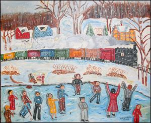 Using primary colors, Bernadine Stetzel, of Fremont, paints happy scenes that often hark back to small-town America in the 1930s and 1940s. This work is 'Ice Skating on a Pond.'