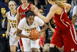Toledo's Brianna Jones pulls down a defensive rebound in Sunday's game. UT travels to Buffalo for a game on Wednesday.