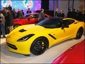 The Corvette Stingray, winner of the 2014 North American Car of the Year, at the North American International Auto Show.