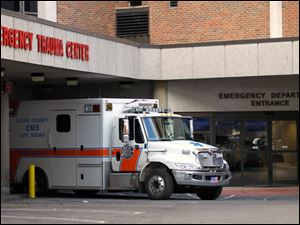 An ambulance at Mercy St. Vincent Emergency Center.