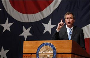 Ohio Gov. John Kasich gives his State of the State Address at the Veteran's Memorial Civic & Convention Center in Lima, Ohio, in February, 2013.