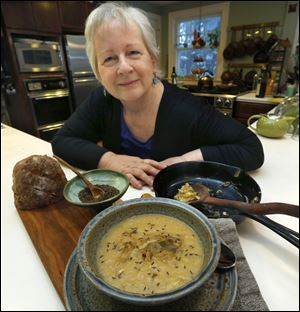 Paula Ross and her savoy cabbage and parmesan rind soup, with caraway seeds, sauteed cabbage with jalapenos.