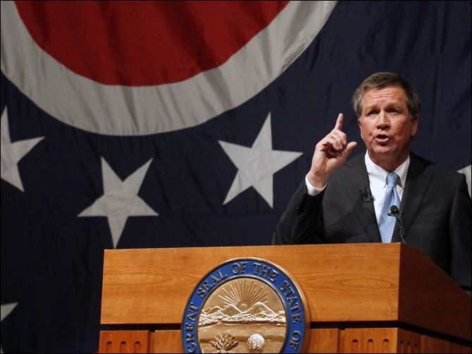 CTY kasich20p state of state lima Ohio Gov. John Kasich gives his State of the State Address at the Veteran's Memorial Civic & Convention Center in Lima, Ohio, in February, 2013.