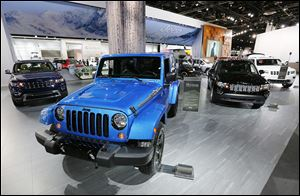 A Jeep Wrangler Polar Edition is displayed at the North American International Auto Show in Detroit. The vehicle is only built in Toledo.
