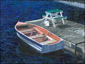 'Rowboat,' an acrylic painting by Timothy Hacker, is part of a show of his paintings and photographs on display at the Way Library, 101 E. Indiana Ave. in Perrysburg, through March 4. The show is coordinated by Prizm Creative Community.