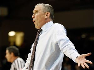 Buffalo head coach Bobby Hurley reacts to  a call during a basketball game against the University of Toledo.