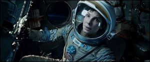 Sandra Bullock in a scene from 'Gravity.'