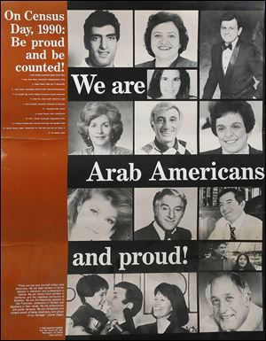 A 1990 poster called attention to the fact that the U.S. Census does not specifically count certain groups, such as Arab-Americans. In the poster, top from left, are Rony Seikaly, then a basketball player for the Miami Heat; Mary Rose Oakar, a congressman from Cleveland; Casey Kasem, radio and TV personality; Kate Karam, Greenpeace activist; Eva Sayegh Teig, former Virginia secretary of human resources; Jamie Farr, actor and Toledo native; Donna Shalala, then chancellor at the University of Wisconsin; Khrystyne Haje, actress; Danny Thomas, an actor who grew up in Toledo;  Nick Rahall, congressman from West Virginia; Professor Edward Said of Columbia University, with his daughter Najla; Tommy Hazouri, then mayor of Jacksonville, Fla., with his wife Carol and son Tommy, Jr.; and Vic Tayback, actor.