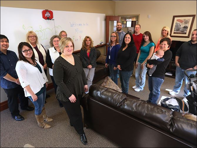 26t1mrops The employees of marketing research firm MRops say they keep the office casual and enjoyable. The Perrysburg office employs about 40 workers and operates with a work hard and play hard approach.
