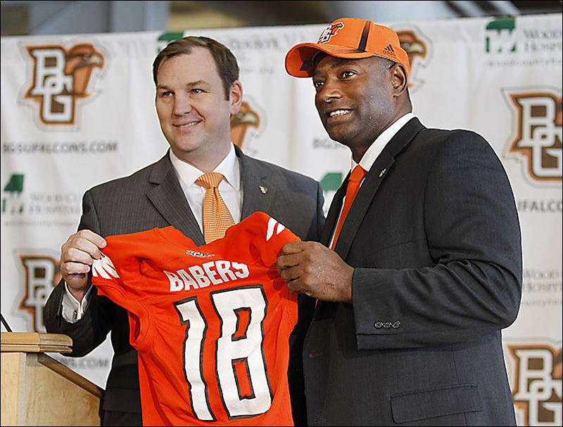 Dino Babers, right, is named the new BG football coach by athletic