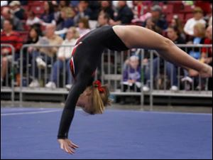 Toledo Turner gymnast Leah Yost performs in the floor exercise.