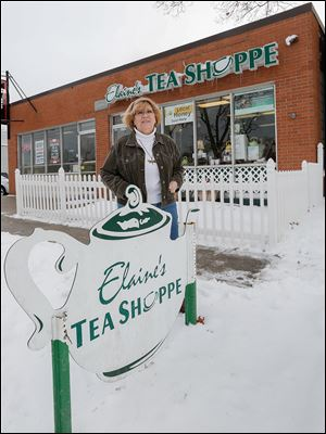 Elaine Terman said customers couldn't see the sign on her West Sylvania Avenue tea shop, so she erected a sign on a strip near the street.