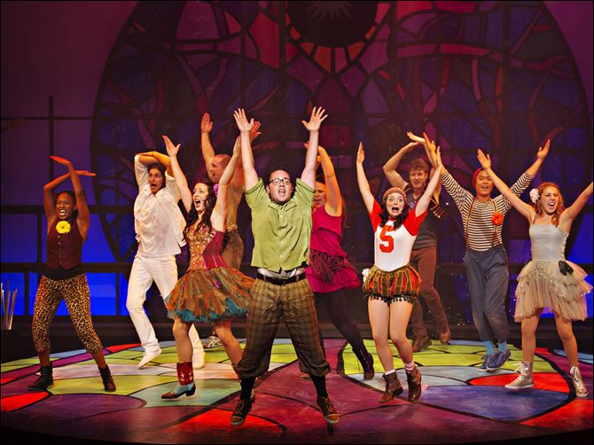 23GodspelLCAST.jpg Cast members of 'Godspell' dance and sing during a performance.