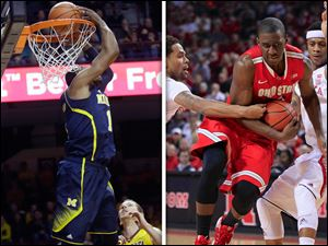 L: Michigan's Glenn Robinson III, left, does a reverse dunk as Minnesota's Oto Osenieks (10) and Austin Hollins.  R: Ohio State guard Shannon Scott attempts to drive.