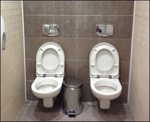 Two toilets at the cross-country skiing and biathlon center for next month's Olympics in Sochi, Russia.