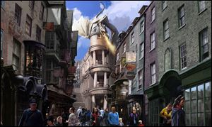 This artist rendering released by Universal Orlando shows the new Harry Potter area called Diagon Alley, opening at Universal Orlando Resort this summer.