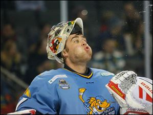 Toledo Walleye goalie Mac Carruth (31) spits after taking a drink of water during a timeout.