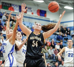 Northview's Kendall Jessing battles  Anthony Wayne's Ashley Mitchell (34) and Sara Zankl (40) for a rebound on Friday night.