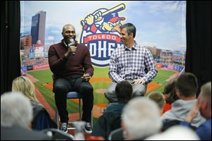 Detroit Tigers outfielder Torii Hunter, left, and manager Brad Ausmus stopped by Fifth Third Field on Thursday night. Ausmus takes over for Perrysburg native Jim Leyland, who retired.