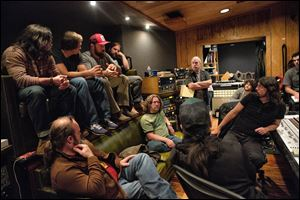 The Zac Brown band in studio with Musician David Grohl.