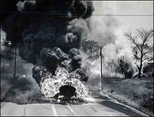 A gasoline tanker overturned and exploded on June 10, 1961, on the Anthony Wayne Trail. Four Toledo fire fighters were killed in the tragedy.