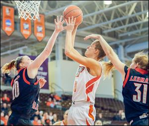 BGSU's Miriam Justinger takes a jump shot while being defended by Northern Illinois'  Jenna Thorp on Sunday evening.