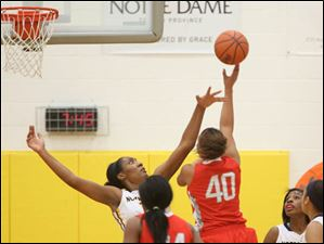 Notre Dame's junior Kaayla McIntyre (15) attempts to block Central Catholic's junior Demi Russell (40) in the second quarter.