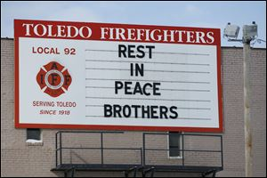 The sign on the union hall of International Association of Fire Fighters Local 92 in downtown Toledo.