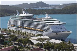 The Royal Caribbean International's Explorer of the Seas is docked at Charlotte Amalie Harbor in St. Thomas, U. S. Virgin Islands, Sunday.