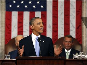 President Barack Obama delivers the State of Union address before a joint session of Congress.