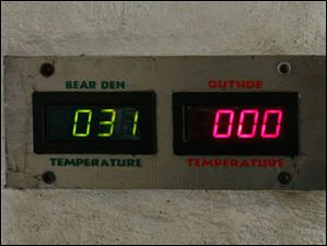 A gauge shows the temperature for inside the bear den and outside at the Toledo Zoo.
