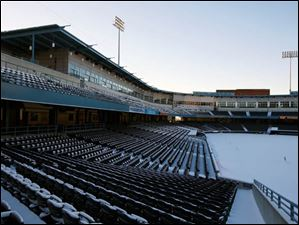 Fifth Third Field covered in snow.