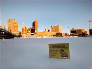 Fifth Third Field covered in snow Tuesday, Jan. 28, 2014, in Toledo.
