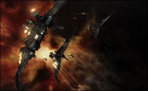 A screenshot from the game 'EVE Online.' The siege on Monday marks the 'bloodiest battle' in the game's 10-year history.
