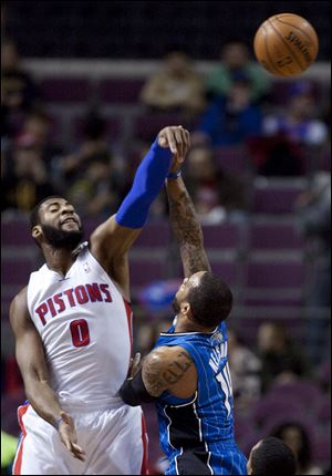 Detroit Pistons center Andre Drummond (0) blocks a shot attempt by Orlando Magic guard Jameer Nelson (14) during the first half.