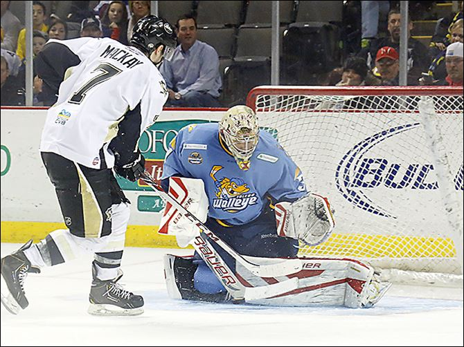 s4carruth Toledo goalie Mac Carruth, right, is a rookie with the Walleye. The netminder has jumped playing between Toledo and with the American Hockey League team in Rockford all season.