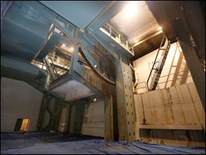 The south trunnion machine room, shown here, will also get a new paint job.