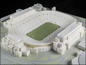 A model of The University of Notre Dame's new football stadium.