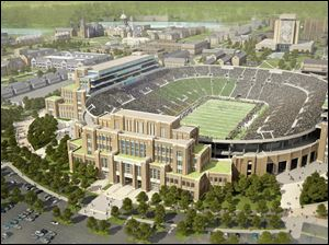 Artist's rendering, provided by The University of Notre Dame, of the school's new football stadium.