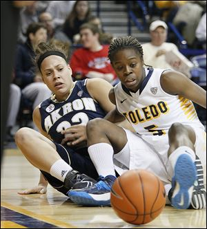 Akron's DiAndra Gibson, left, and Toledo's Janelle Reed-Lewis battle for possession.