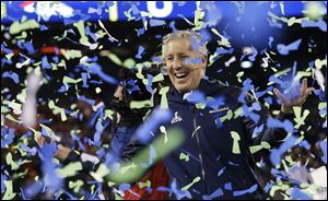 Seattle Seahawks coach Pete Carroll celebrates after winning Super Bowl XLVIII against the Denver Broncos on Sunday in East Rutherford, N.J. The Seahawks won 43-8.