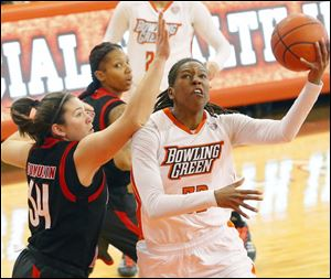 For the season Alexis Rogers is averaging 14.3 points and 8.4 rebounds per game for Bowling Green,