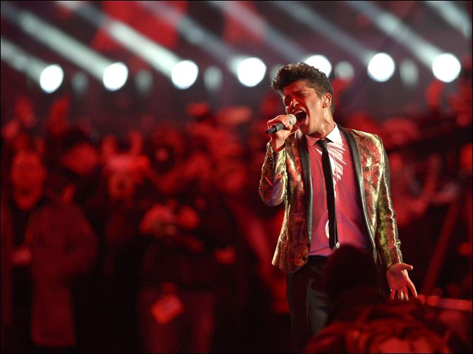 Super Bowl Football Bruno Mars performs during the halftime show of Super Bowl XLVIII on Sunda in East Rutherford, N.J.