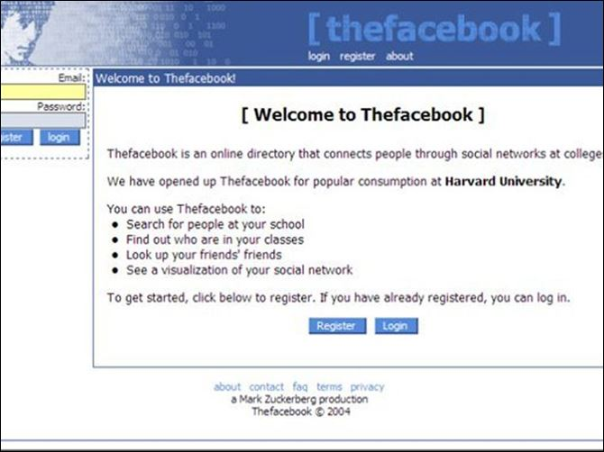 The original way Facebook met the world in 2004. The original way Facebook met the world in 2004.