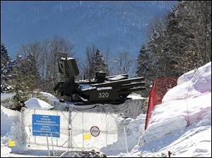 An anti-aircraft missile base sits outside the cross-country skiing venue prior to the 2014 Winter Olympics today in Krasnaya Polyana, Russia.