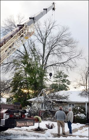 Falling limbs from a tall oak tree damaged a home in Frederick, Md. after Wednesday's ice storm.