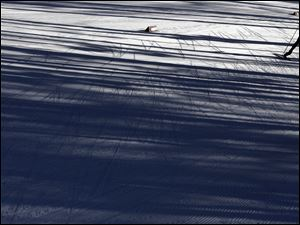 A skier is silhouetted during a biathlon training session Friday in Krasnaya Polyana, Russia.